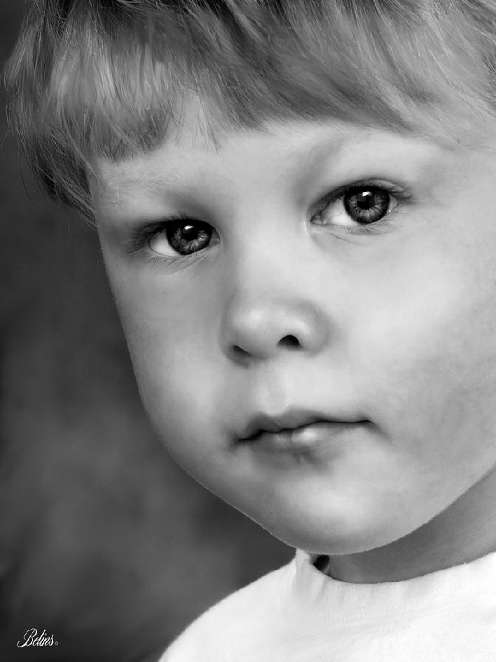 Fine art black and white acrylic portrait